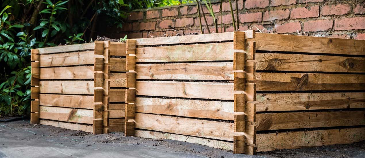 Double composteur en bois