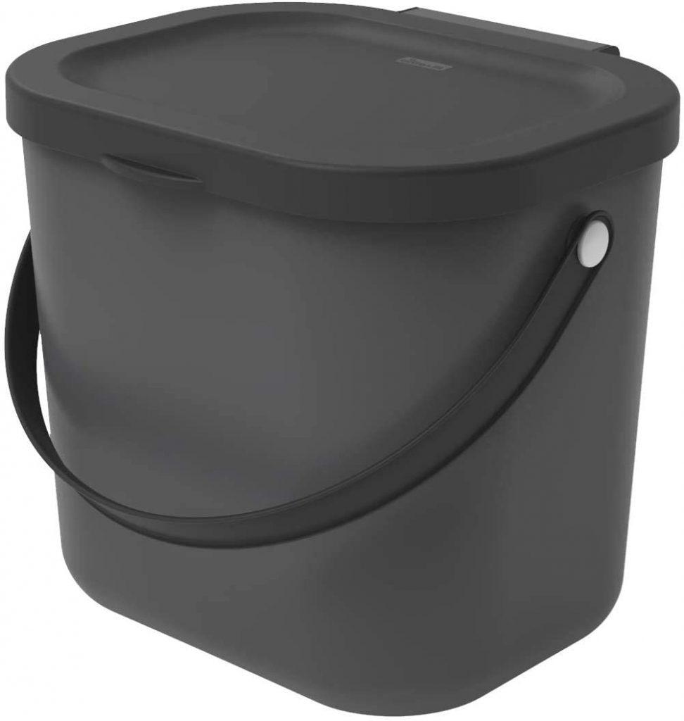 Rotho Albula Poubelle Bio 6L avec Couvercle et Poignée pour la Cuisine
